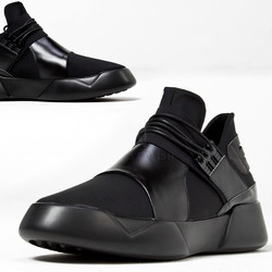 Futuristic black leather contrast sneakers