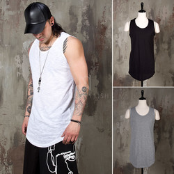 Simple slub round hem long tank