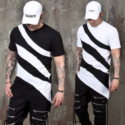 Zebra pattern asymmetric t-shirts