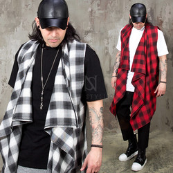 Checkered ruffle shawl long vest