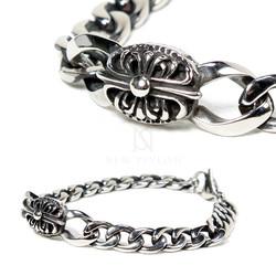 Celtic cross engraved surgical steel bracelet