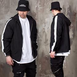 Striped sleeves hooded wind-breaker zip-up jacket