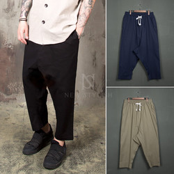 Baggy linen banding pants