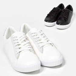 Simple plain lace-up sneakers