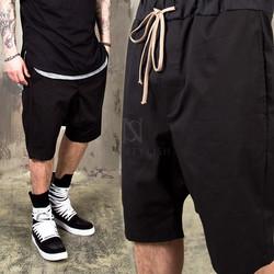 Black drawcord banding baggy shorts - 89