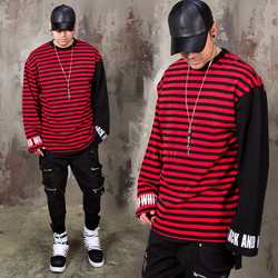 Embroidery lettering striped contrast shirts