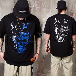 Burning skull printed t-shirts