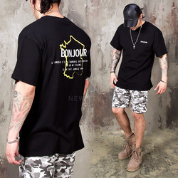 Bonjour lettering prined t-shirts - 931