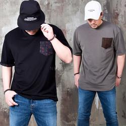 Flower patterned pocket contrast t-shirts - 933
