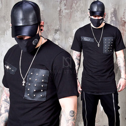 Studded leather contrast t-shirts - 936