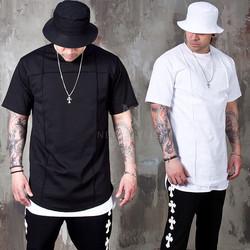 Cross pintuck line round hem t-shirts - 937