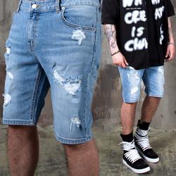 Distressed light blue short jeans - 395