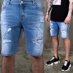 Ripped light blue short jeans