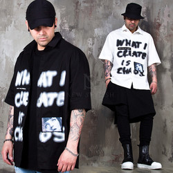 Spray lettering printed short sleeves shirts