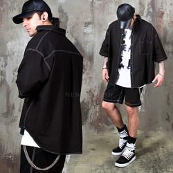 Unbalanced over stitch short sleeves shirts - 282