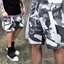 Suspender camouflage gray banding shorts