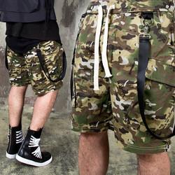 Suspender camouflage banding shorts