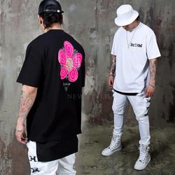 Pink flower printed t-shirts
