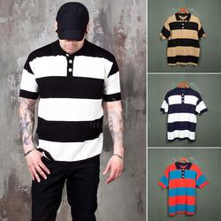 Contrast striped pique shirts