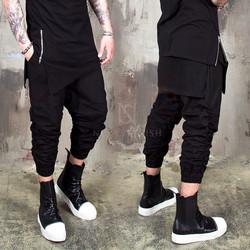Shirring black crop banding pants - 242