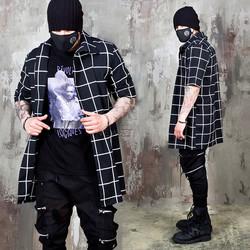 Checkered unbalance closure black long shirts