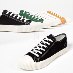 Contrast rubber sole lace-up sneakers