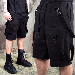 4 webbing belted strap cargo shorts