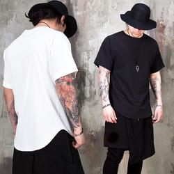 Avant-garde woven round hem t-shirts