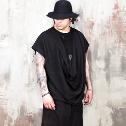 Avant-garde woven draping layered t-shirts