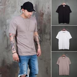 Layered hem basic pocket t-shirts