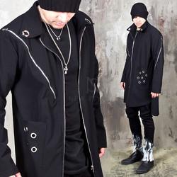 Diagonal zippered eyelet zip-up coat - 169