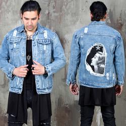Elegant lady printed distressed denim jacket