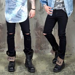 Knife cut black slim jeans