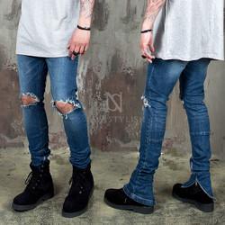 Zippered hem ripped knee slim jeans - 402