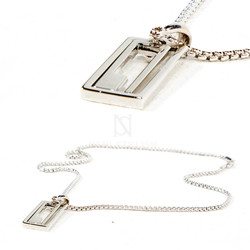 Square maze charm metal necklace