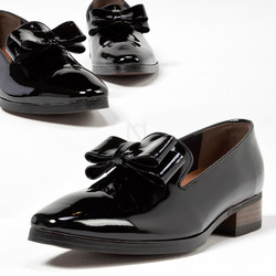 Glossy black ribbon shoes - 456
