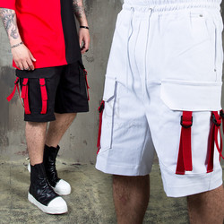 Red webbing taped cargo pocket shorts