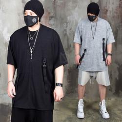 Triple hook webbing strap loose t-shirts - 1017