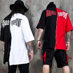 Half contrast back zippered t-shirts