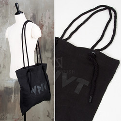 Rope black linen side bag - 72