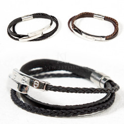 Metal bar braided leather bracelet - 100