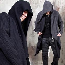 Draping shawl corduroy hooded long cardigan