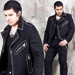 Epaulet studded rider jacket