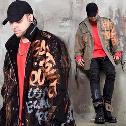 Scribble painting field jacket - 342