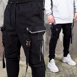 Belted strap double zippered big pocket banding pants