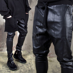 Coated zipper leather banded pants