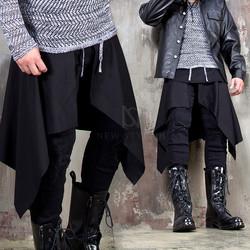 Unbalanced plain black wrap skirt