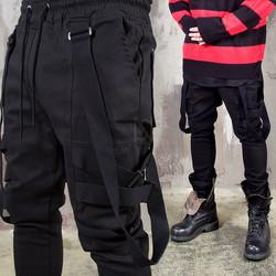 Suspender strap black jogger pants