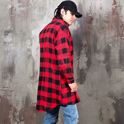 Checkered round hem long button-up shirts