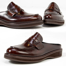Brown slipper type U-tip shoes